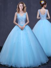 Light Blue V-neck Neckline Lace and Appliques Quinceanera Gown Sleeveless Lace Up
