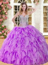 Enchanting Eggplant Purple Organza Lace Up Sweetheart Sleeveless Floor Length 15 Quinceanera Dress Beading and Ruffles