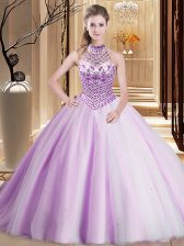 Fancy Tulle Halter Top Sleeveless Brush Train Lace Up Beading Sweet 16 Quinceanera Dress in Lilac