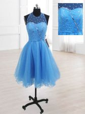 Baby Blue A-line High-neck Sleeveless Organza Knee Length Lace Up Sequins Prom Party Dress