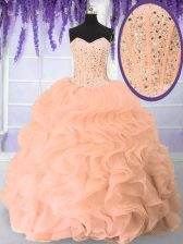 Sophisticated Pink Organza Lace Up Quinceanera Dresses Sleeveless Floor Length Beading and Ruffles