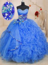 Blue Ball Gowns Organza Sweetheart Sleeveless Beading and Ruffles Floor Length Lace Up Quinceanera Dresses