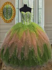 Multi-color Lace Up Sweetheart Beading and Ruffles and Sequins Quinceanera Dresses Tulle Sleeveless