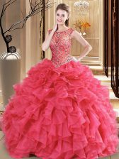 Organza Scoop Sleeveless Lace Up Beading and Ruffles Sweet 16 Dress in Coral Red