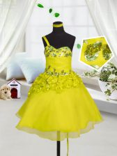 Sweetheart Sleeveless Lace Up Girls Pageant Dresses Yellow Organza