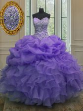 Spectacular Pick Ups Ball Gowns 15 Quinceanera Dress Lavender Sweetheart Organza Sleeveless Floor Length Lace Up