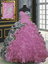 Printed Rose Pink Sleeveless Brush Train Beading and Ruffles and Pattern With Train Sweet 16 Dress