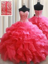 Amazing Floor Length Ball Gowns Sleeveless Coral Red Sweet 16 Dress Lace Up