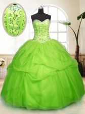 Cute Sweetheart Neckline Sequins and Pick Ups Sweet 16 Dresses Sleeveless Lace Up