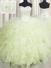 Sleeveless Organza Floor Length Lace Up Sweet 16 Quinceanera Dress in Yellow Green with Beading and Ruffles