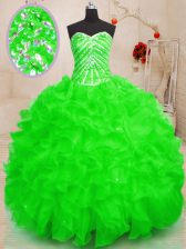 Beading and Ruffles and Sequins Vestidos de Quinceanera Lace Up Sleeveless Floor Length
