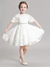 Sweet White A-line Beading and Appliques Flower Girl Dress Zipper Organza Short Sleeves Mini Length