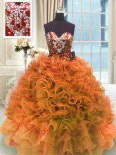 Super Sleeveless Organza Floor Length Lace Up Vestidos de Quinceanera in Orange with Ruffles