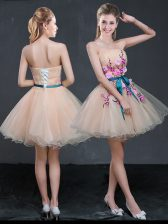 Hot Selling A-line Prom Party Dress Peach Strapless Organza Sleeveless Mini Length Lace Up