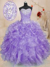 Fine Organza Sweetheart Sleeveless Lace Up Beading and Ruffles Quinceanera Gowns in Lavender