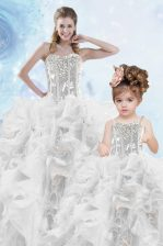 Silver Sleeveless Beading and Ruffles and Sequins Floor Length Quinceanera Dresses