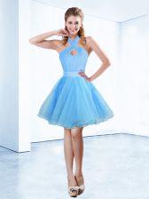 Hot Sale Blue Halter Top Neckline Ruching and Belt Homecoming Dress Sleeveless Zipper