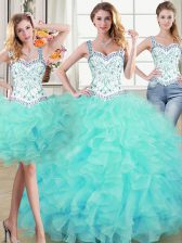 Three Piece Straps Floor Length Ball Gowns Sleeveless Aqua Blue Quinceanera Dresses Lace Up
