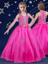 Scoop Organza Sleeveless Floor Length Girls Pageant Dresses and Beading