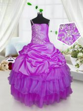Most Popular Lavender One Shoulder Lace Up Beading and Ruffled Layers and Pick Ups Pageant Gowns For Girls Sleeveless