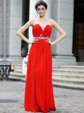 Cheap Floor Length Column/Sheath Sleeveless Coral Red Prom Dresses Zipper