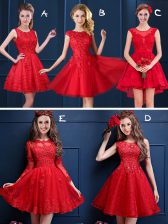 Fashion Scoop Mini Length Lace Up Quinceanera Court of Honor Dress Red for Prom and Party and Wedding Party with Lace and Appliques