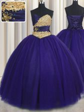 Modest Floor Length Ball Gowns Sleeveless Royal Blue 15 Quinceanera Dress Lace Up
