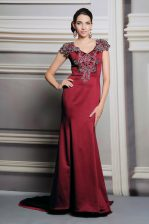 Flirting Side Zipper Prom Party Dress Burgundy for Prom and Party with Appliques Court Train