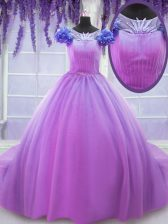 Perfect Scoop Short Sleeves Floor Length Lace Up Quince Ball Gowns Lilac for Military Ball and Sweet 16 and Quinceanera with Hand Made Flower