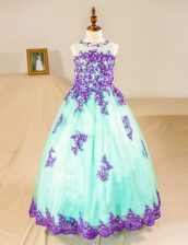Deluxe Tulle Scoop Sleeveless Zipper Beading and Lace and Appliques Toddler Flower Girl Dress in Turquoise