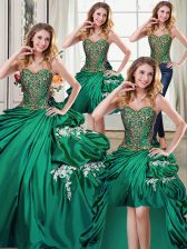 Pretty Four Piece Sweetheart Sleeveless Ball Gown Prom Dress Floor Length Beading and Appliques and Pick Ups Dark Green Taffeta