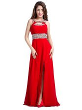 Best Silk Like Satin Square Sleeveless Zipper Beading in Red