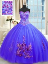 Dynamic Sleeveless Embroidery Lace Up Quince Ball Gowns