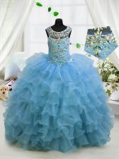 Scoop Sleeveless Lace Up Floor Length Beading and Ruffled Layers Kids Formal Wear