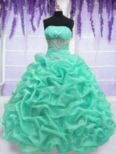 Glamorous Turquoise Strapless Lace Up Beading Vestidos de Quinceanera Sleeveless