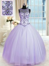 Flare Lavender Quinceanera Gown Military Ball and Sweet 16 and Quinceanera with Beading Scoop Sleeveless Lace Up