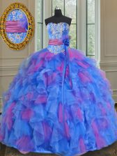 Sleeveless Floor Length Beading and Appliques and Ruffles and Sashes ribbons and Hand Made Flower Lace Up Quinceanera Gowns with Multi-color