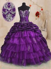 Sweetheart Sleeveless 15 Quinceanera Dress With Train Sweep Train Beading and Appliques and Ruffled Layers and Pick Ups Purple Organza and Taffeta