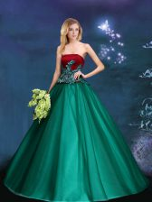 Ideal Appliques Sweet 16 Quinceanera Dress Dark Green Lace Up Sleeveless Floor Length