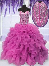 Cute Hot Pink Ball Gowns Beading and Ruffles Vestidos de Quinceanera Lace Up Organza Sleeveless Floor Length