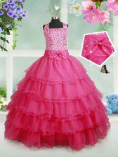 Halter Top Ruffled Floor Length Ball Gowns Sleeveless Hot Pink Girls Pageant Dresses Zipper