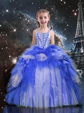 Floor Length Blue Pageant Gowns For Girls Spaghetti Straps Sleeveless Lace Up