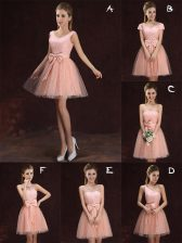 Low Price V-neck Sleeveless Tulle and Lace Quinceanera Court of Honor Dress Lace and Bowknot Lace Up