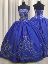 Strapless Sleeveless Ball Gown Prom Dress Floor Length Beading and Embroidery Royal Blue Chiffon