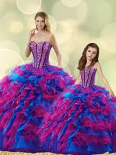 Pretty Organza Sweetheart Sleeveless Lace Up Beading and Ruffles Quinceanera Gown in Multi-color