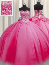 Cheap Big Puffy Rose Pink Tulle Lace Up 15 Quinceanera Dress Sleeveless Floor Length Beading