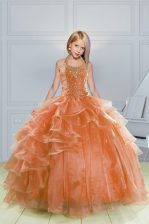 Orange Organza Lace Up Halter Top Sleeveless Floor Length Kids Pageant Dress Beading and Ruffles