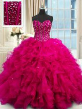 High Quality Sequins Sweetheart Sleeveless Lace Up 15 Quinceanera Dress Fuchsia Organza