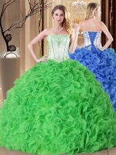 Discount Ball Gowns Embroidery and Ruffles Quinceanera Gowns Lace Up Fabric With Rolling Flowers Sleeveless Floor Length