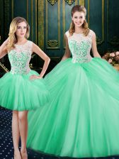 Three Piece Scoop Sleeveless Tulle Floor Length Lace Up Quinceanera Dress in Apple Green with Lace and Pick Ups